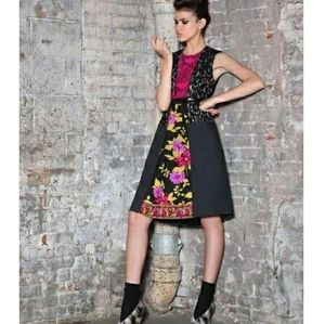 NWOT Black Tracy Reese Floral Fit & Flare Dress